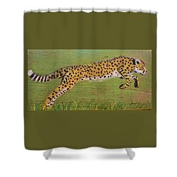 Leaping Cheetah Shower Curtain by Ann Michelle Swadener