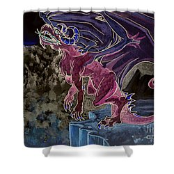 Shower Curtain featuring the mixed media Leaping Dragon 2 by Reed Novotny