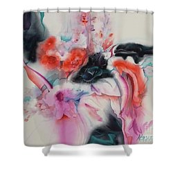 L'eau Qui Coule Shower Curtain by Donna Acheson-Juillet