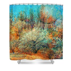 Leave It To The Trees To Dance In The Cold Shower Curtain by Tara Turner