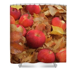 Leaves And Apples Shower Curtain by Michael Flood