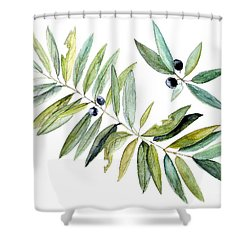 Shower Curtain featuring the painting Leaves And Berries by Laurie Rohner