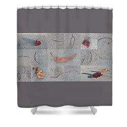 Shower Curtain featuring the photograph Leaves And Cracks Collage by Ben and Raisa Gertsberg