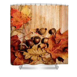 Shower Curtain featuring the photograph Leaves And Nuts 2 by Rebecca Cozart