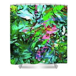 Leaves Buds Green Pink Shower Curtain