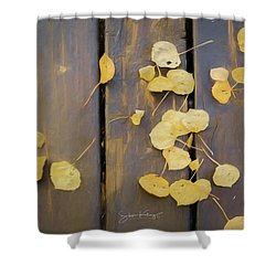 Leaves On Planks Shower Curtain