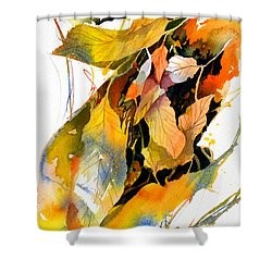 Shower Curtain featuring the painting Leaves by Rae Andrews