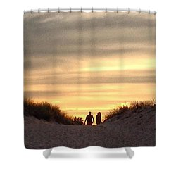 Leaving At Sunset Shower Curtain