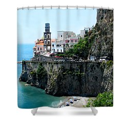 Leaving Atrani  Italy Shower Curtain by Jennie Breeze