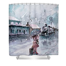 Shower Curtain featuring the painting Leaving... by Faruk Koksal