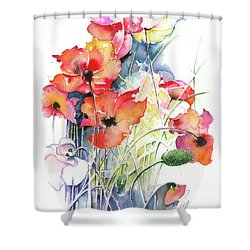 Shower Curtain featuring the painting Leaving The Shadow by Anna Ewa Miarczynska