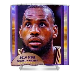 Shower Curtain featuring the drawing Lebron James Believes by Ray Tapajna