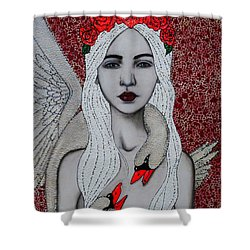 Shower Curtain featuring the mixed media Leda And The Swans by Natalie Briney