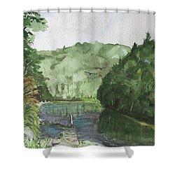 River Shower Curtain by Christine Lathrop