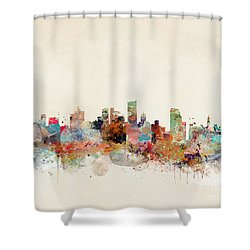 Shower Curtain featuring the painting Leeds City Skyline by Bri B