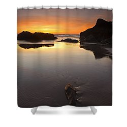 Left By The Tides Shower Curtain by Mike  Dawson