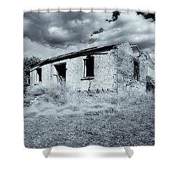 Left In Ruin Shower Curtain by Mike  Dawson