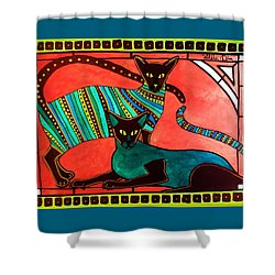 Legend Of The Siamese - Cat Art By Dora Hathazi Mendes Shower Curtain by Dora Hathazi Mendes