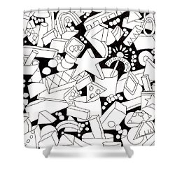 Shower Curtain featuring the drawing Lego-esque by Lou Belcher
