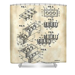 Lego Patent 1958 - Vintage Shower Curtain