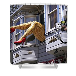 Legs In Window Sf Shower Curtain by Garry Gay