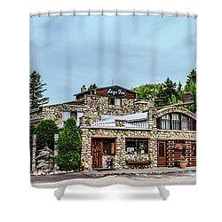 Shower Curtain featuring the photograph Legs Inn Of Cross Village by Bill Gallagher