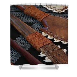Lei O Mano Hawaiian Koa Shark Teeth Dagger And War Clubs Shower Curtain by Sharon Mau