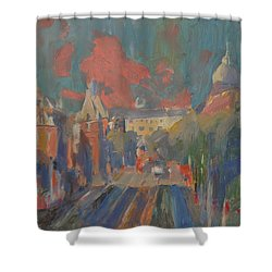 Leidse Plein Red Cloud Shower Curtain