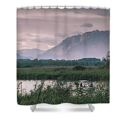 Leisure Boat On River Adda In Northern Italy, Close To Lake Como - Reflection Of Italian Alps Shower Curtain