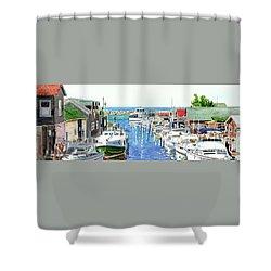 Leland Fishtown, Fishing Village, Leland Painting, Michigan Painting, Boating, Boat Painting Shower Curtain
