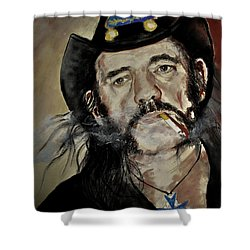 Lemmy Kilmister Motorhead Shower Curtain by Maja Sokolowska
