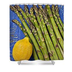 Lemon And Asparagus  Shower Curtain by Garry Gay