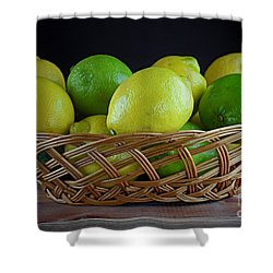 Lemon And Lime Basket Shower Curtain