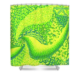 Shower Curtain featuring the drawing Lemon Lime by Kim Sy Ok
