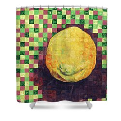 Shower Curtain featuring the painting Lemon Squares by Shawna Rowe