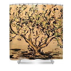 Shower Curtain featuring the painting Lemon Tree by Maria Langgle