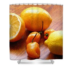 Lemons And Peppers Shower Curtain by Jeff Kolker