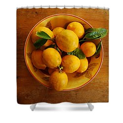 Shower Curtain featuring the photograph Lemons In Bowl by Jocelyn Friis