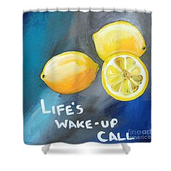 Lemons Shower Curtain by Linda Woods