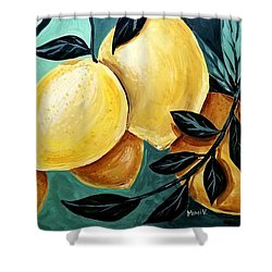 Shower Curtain featuring the painting Lemons by Maria Langgle