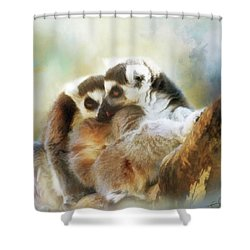 Lemur Cuddle Shower Curtain