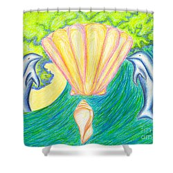 Shower Curtain featuring the drawing Lemuria Atlantis by Kim Sy Ok