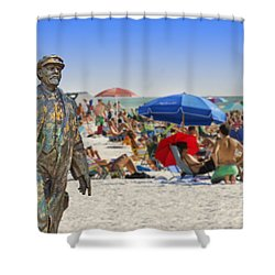 Lenin Goes To The Beach  Shower Curtain