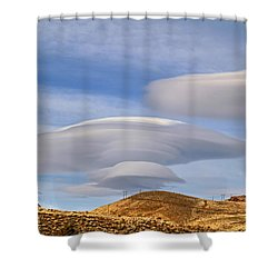 Lenticular Landing Shower Curtain by Donna Kennedy