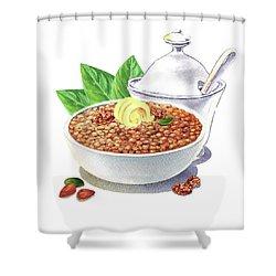 Shower Curtain featuring the painting Lentil Soup Watercolor Food Illustration by Irina Sztukowski