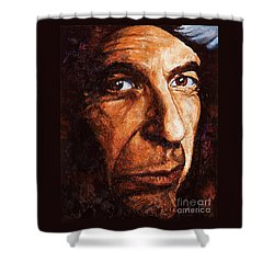 Shower Curtain featuring the painting Leonard Cohen by Igor Postash
