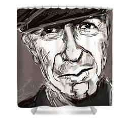 Shower Curtain featuring the painting Leonard Cohen  by Jim Vance