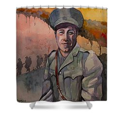 Shower Curtain featuring the painting Leonard Keysor Vc by Ray Agius
