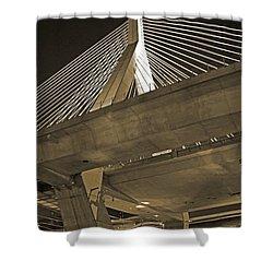 Leonard P. Zakim Bunker Hill Bridge In Sepia Shower Curtain