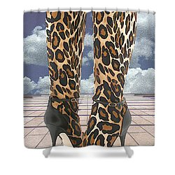 Leopard Boots With Ankle Straps Shower Curtain by Elaine Plesser